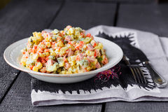 Olivier salad, Christmas food Stock Photography