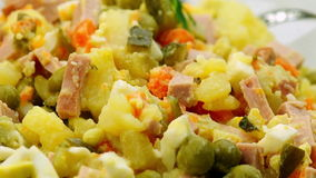 Olivier Salad in a Crystal Bowl stock video