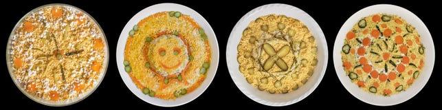 Olivier Salad Four Dishes Collection aisló en fondo negro Foto de archivo libre de regalías