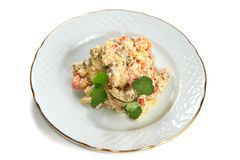 Olivier salad of potatoes, carrots, meat, peas Royalty Free Stock Image