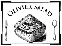 Olivier salad, vegetarian cuisine, vintage engraving Royalty Free Stock Photography