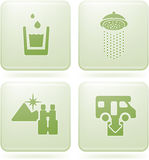 Olivine 2D Squared Set: Camping. Various camping icons: Drinkable water, Shower, Nice Landscape View, Dumb Point Stock Photography