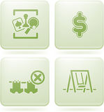 Olivine 2D Squared Set: Camping. Various camping icons: Games room, Dollar sign, Portable Clothes Line Banned, Playground Royalty Free Stock Image