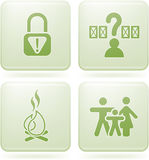 Olivine 2D Squared Set: Camping. Various camping icons: Park is not secure, Pick Your Own Site, Fire allowed, Familly friendly Stock Photography