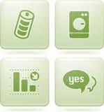 Olivine-Quadrat-2D Ikonen eingestellt Lizenzfreies Stockfoto