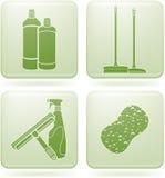 Olivine-Quadrat-2D Ikonen eingestellt: Reinigung Lizenzfreie Stockbilder