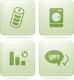 Olivine Square 2D Icons Set. Green (Olivine) squared 2D web icons Royalty Free Stock Photo