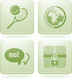 Olivine Square 2D Icons Set Royalty Free Stock Image
