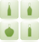 Olivine Square 2D Icons Set: Alcohol bottles Stock Photography