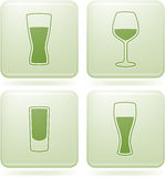 Olivine Square 2D Icons Set: Alcohol glass Royalty Free Stock Photography