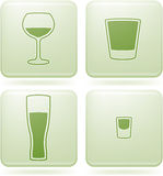 Olivine Square 2D Icons Set: Alcohol glass Stock Images