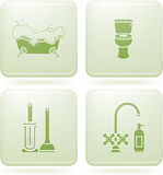 Olivine Square 2D Icons Set: Bathroom Royalty Free Stock Image