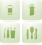Olivine Square 2D Icons Set: Bathroom Stock Photos