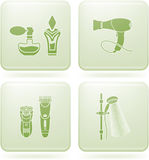 Olivine Square 2D Icons Set: Bathroom Royalty Free Stock Images