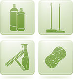 Olivine Square 2D Icons Set: Cleaning Royalty Free Stock Images