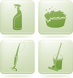 Olivine Square 2D Icons Set: Cleaning Stock Images