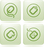 Olivine Square 2D Icons Set: Computer Stuff Stock Image