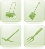 Olivine Square 2D Icons Set: Garden Tools Stock Photo