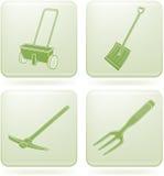 Olivine Square 2D Icons Set: Garden Tools Stock Photo