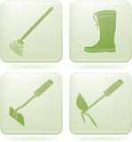 Olivine Square 2D Icons Set: Garden Tools Royalty Free Stock Photography