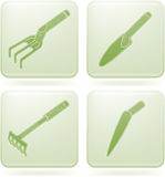 Olivine Square 2D Icons Set: Garden Tools Stock Image