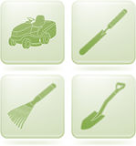 Olivine Square 2D Icons Set: Garden Tools Stock Photos