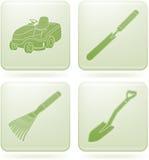 Olivine Square 2D Icons Set: Garden Tools Stock Photos