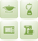 Olivine Square 2D Icons Set: Kitchen utensils Stock Photos