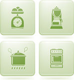 Olivine Square 2D Icons Set: Kitchen Utensils Royalty Free Stock Photography