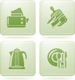 Olivine Square 2D Icons Set: Kitchen Utensils Stock Photos