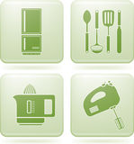 Olivine Square 2D Icons Set: Kitchen utensils Stock Photo