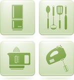 Olivine Square 2D Icons Set: Kitchen utensils Stock Photo