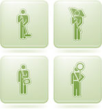Olivine Square 2D Icons Set: Occupation. Man's occupation  icon set Stock Images