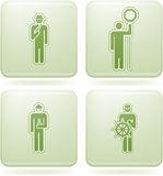 Olivine Square 2D Icons Set: Occupation. Man's Occupation Green Squared Vector Icon Set Stock Photo