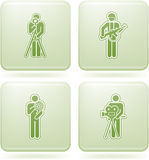 Olivine Square 2D Icons Set: Occupation. Man's Occupation Green Squared Vector Icon Set Stock Photos