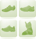 Olivine Square 2D Icons Set: Sport Shoes Stock Photos