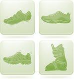 Olivine Square 2D Icons Set: Sport Shoes Stock Photos