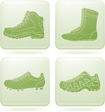 Olivine Square 2D Icons Set: Sport Shoes Royalty Free Stock Photos