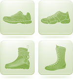 Olivine Square 2D Icons Set: Sport Shoes Stock Images
