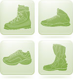 Olivine Square 2D Icons Set: Sport Shoes Royalty Free Stock Images