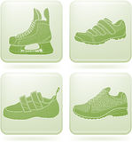 Olivine Square 2D Icons Set: Sport Shoes Royalty Free Stock Image