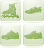 Olivine Square 2D Icons Set: Sport Shoes Royalty Free Stock Photo