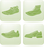 Olivine Square 2D Icons Set: Sport Shoes Stock Image