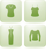 Olivine Square 2D Icons Set: Woman's Clothing Stock Images