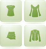 Olivine Square 2D Icons Set: Woman's Clothing Stock Photos