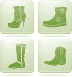 Olivine Square 2D Icons Set: Woman's Shoes Royalty Free Stock Image