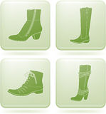 Olivine Square 2D Icons Set: Woman's Shoes Royalty Free Stock Images