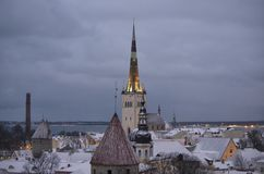 Oliviste kyrka i vintern Tallinn Arkivbilder