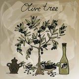 Olivo, botella con aceite de oliva y jarro label Espacio para su texto Ilustración a mano del vector stock de ilustración