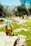 Olivolja med oliv i naturlig miljö Arkivbilder